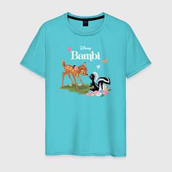 Футболка хлопковая мужская Flower and Bambi цвета бирюзовый — фото 1