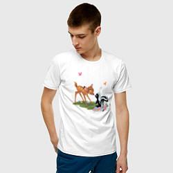 Футболка хлопковая мужская Flower and Bambi цвета белый — фото 2