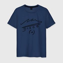 Футболка хлопковая мужская Diego Maradona Автограф цвета тёмно-синий — фото 1