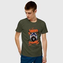 Футболка хлопковая мужская Taskmaster цвета меланж-хаки — фото 2