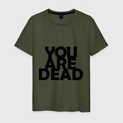 Футболка хлопковая мужская DayZ: You are Dead цвета меланж-хаки — фото 1