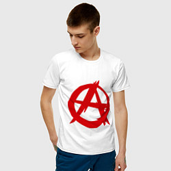 Футболка хлопковая мужская Символ анархии цвета белый — фото 2