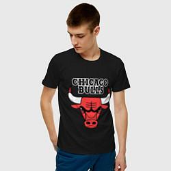 Футболка хлопковая мужская Chicago Bulls цвета черный — фото 2
