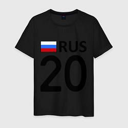 Мужская хлопковая футболка с принтом RUS 20, цвет: черный, артикул: 10036148100001 — фото 1