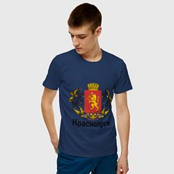 Футболка хлопковая мужская Красноярск цвета тёмно-синий — фото 2