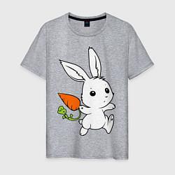 Футболка хлопковая мужская Зайка с морковкой цвета меланж — фото 1