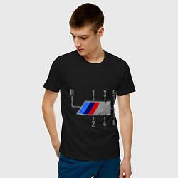 Футболка хлопковая мужская БМВ М: Коробка передач цвета черный — фото 2