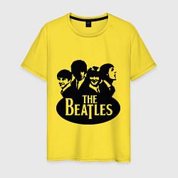 Футболка хлопковая мужская The Beatles Band цвета желтый — фото 1