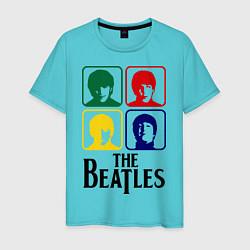 Футболка хлопковая мужская The Beatles: Colors цвета бирюзовый — фото 1