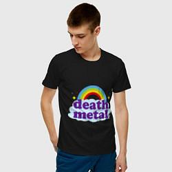 Футболка хлопковая мужская Death Metal: Rainbow цвета черный — фото 2