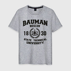 Футболка хлопковая мужская BAUMAN University цвета меланж — фото 1