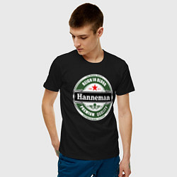 Футболка хлопковая мужская Hanneman цвета черный — фото 2
