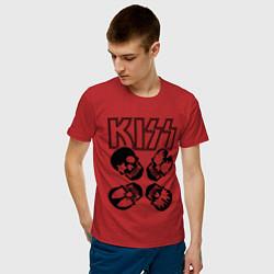 Футболка хлопковая мужская Kiss Skulls цвета красный — фото 2