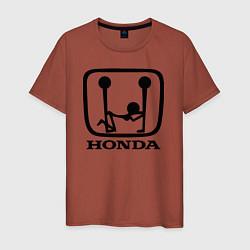 Мужская хлопковая футболка с принтом Honda Logo Sexy, цвет: кирпичный, артикул: 10066247600001 — фото 1