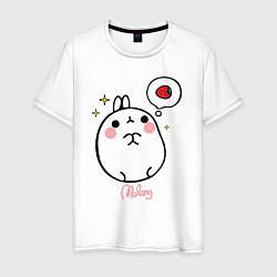 Мужская хлопковая футболка с принтом Кролик Моланг с клубникой, цвет: белый, артикул: 10088611400001 — фото 1