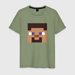 Футболка хлопковая мужская Minecraft: Man Face цвета авокадо — фото 1