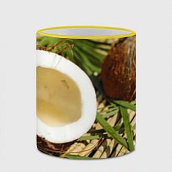 Кружка 3D Кокос цвета 3D-желтый кант — фото 2