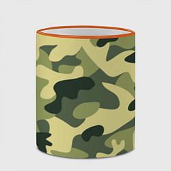 Кружка 3D Камуфляж: зеленый/хаки цвета 3D-оранжевый кант — фото 2