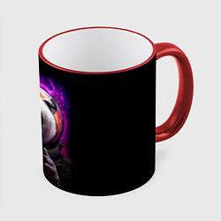 Кружка 3D Panda Cosmonaut цвета 3D-красный кант — фото 1