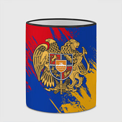 Кружка 3D Герб и флаг Армении цвета 3D-черный кант — фото 2