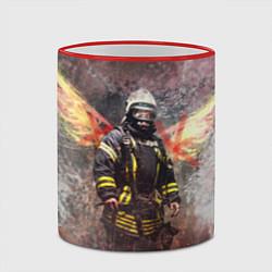 Кружка 3D Пожарный ангел цвета 3D-красный кант — фото 2