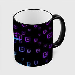 Кружка 3D Twitch: Neon Style цвета 3D-черный кант — фото 1