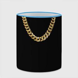 Кружка 3D Золотая цепь цвета 3D-небесно-голубой кант — фото 2