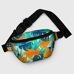 Поясная сумка Лазурные тропики цвета 3D-принт — фото 2