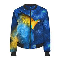 Бомбер женский Космический попугай цвета 3D-черный — фото 1