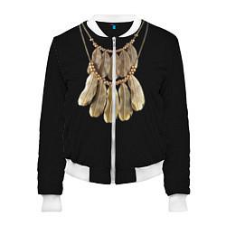 Бомбер женский Золотые перья цвета 3D-белый — фото 1