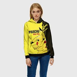 Толстовка-худи женская Pikachu Pika Pika цвета 3D-черный — фото 2