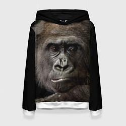 Толстовка-худи женская Глаза гориллы цвета 3D-белый — фото 1