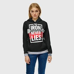 Толстовка-худи женская The iron never lies цвета 3D-меланж — фото 2