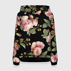 Толстовка-худи женская TOP Roses цвета 3D-черный — фото 1