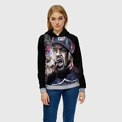Толстовка-худи женская Ice Cube: Big boss цвета 3D-меланж — фото 2