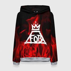 Толстовка-худи женская Fall Out Boy: Red Flame цвета 3D-меланж — фото 1