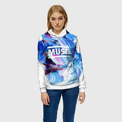 Толстовка-худи женская MUSE: Blue Colours цвета 3D-белый — фото 2