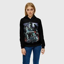 Толстовка-худи женская Uncharted 4 цвета 3D-черный — фото 2