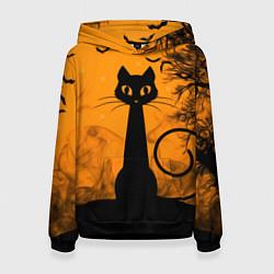 Толстовка-худи женская Halloween Cat цвета 3D-черный — фото 1