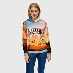 Толстовка-худи женская RDR 2: Wild West цвета 3D-меланж — фото 2
