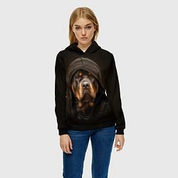 Толстовка-худи женская Ротвейлер в капюшоне цвета 3D-черный — фото 2