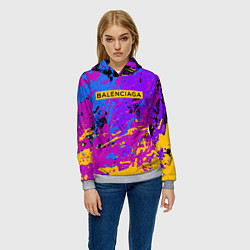 Толстовка-худи женская Balenciaga: Neon Fashion цвета 3D-меланж — фото 2