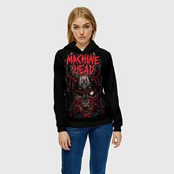 Толстовка-худи женская Machine Head: Blooded Skull цвета 3D-черный — фото 2