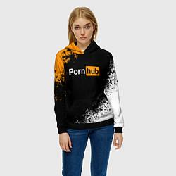 Толстовка-худи женская PORNHUB цвета 3D-черный — фото 2
