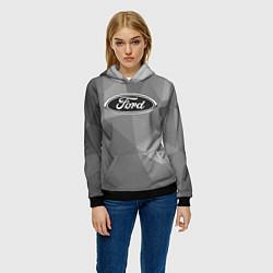Толстовка-худи женская Ford чб цвета 3D-черный — фото 2