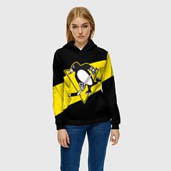 Толстовка-худи женская Питтсбург Пингвинз цвета 3D-черный — фото 2