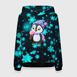 Толстовка-худи женская Новогодний пингвин цвета 3D-черный — фото 1