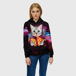 Толстовка-худи женская Кот с едой цвета 3D-черный — фото 2
