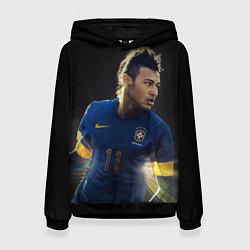 Толстовка-худи женская Neymar: Brasil Team цвета 3D-черный — фото 1