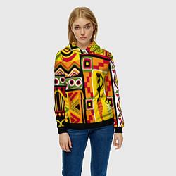 Толстовка-худи женская Африка цвета 3D-черный — фото 2